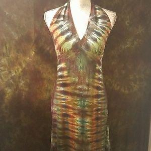Bombshell Tie-dyed Maxi Halter Dress 🖤